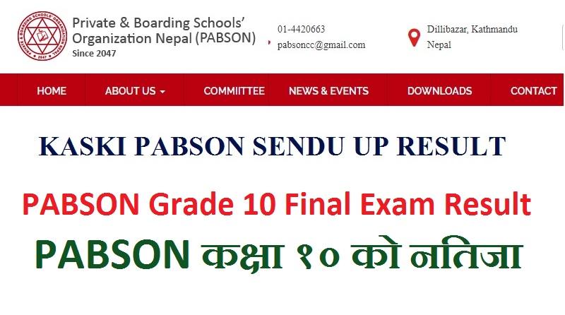 PABSON Grade 10 Final Exam Result