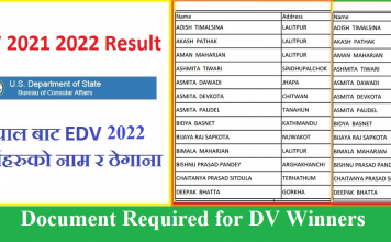 Document Required for DV Winners