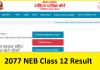 2077 NEB Class 12 Result