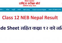 Class 12 NEB Nepal Result