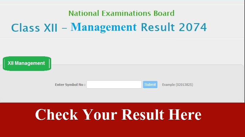 NEB Class 12 Management Result