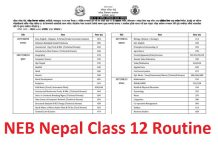 NEB Nepal Class 12 Routine