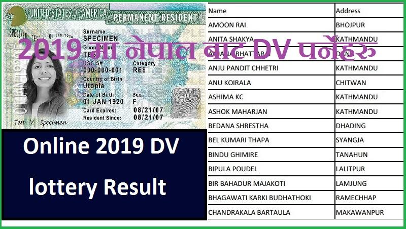 Online 2019 DV lottery Result