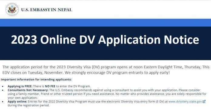 2023 Online DV Application Notice
