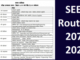 SEE Routine 2076 2020