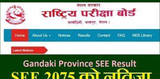 Gandaki Province SEE Result