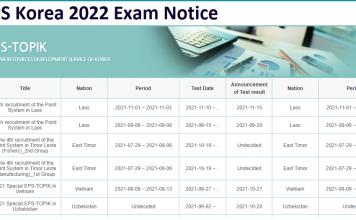 EPS Korea 2022 Exam Notice