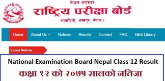 National Examination Board Nepal Class 12 Result