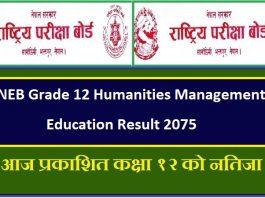NEB Grade 12 Humanities Management Education Result 2075