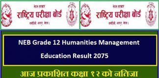 NEB Grade 12 Humanities Management Education Result 2075