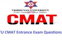 TU CMAT Entrance Exam Questions