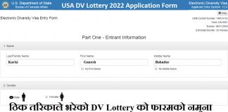 USA DV Lottery 2022 Application Form