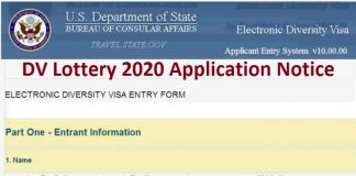 DV Lottery 2020 Application Notice