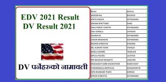 EDV 2021 Result DV Result 2021