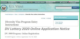 DV Lottery 2020 Online Application Notice