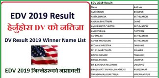 DV Result 2019 Winner Name List