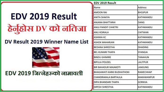 DV Result 2019 Winner Name List