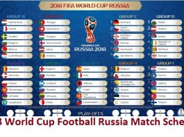 2018 World Cup Football Russia Match Schedule