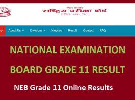NEB Grade 11 Online Results
