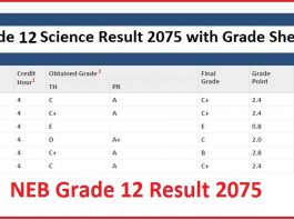 NEB Grade 12 Result 2075