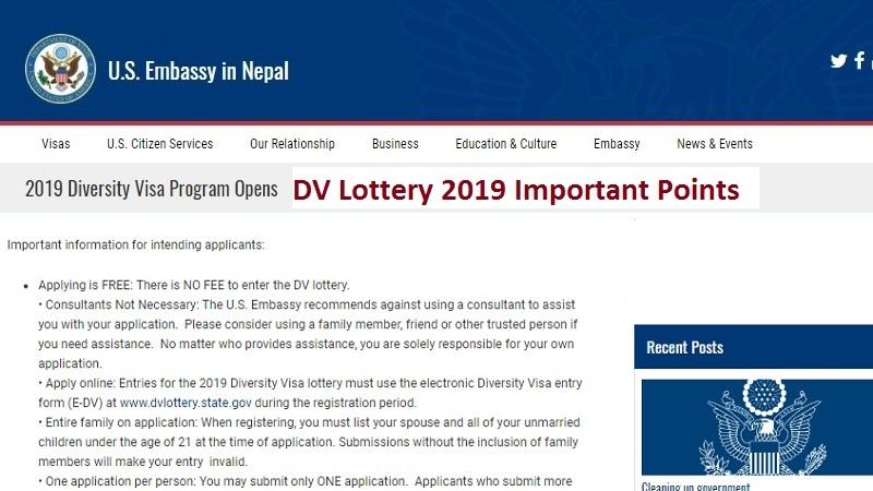 DV Lottery 2019 Important Points