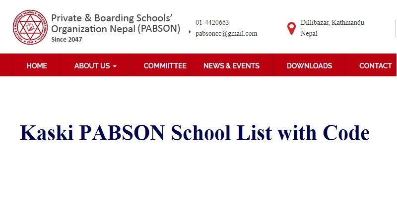 Kaski PABSON School List with Code