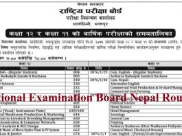 National Examination Board Nepal Routine