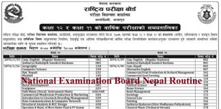 National Examination Board Nepal Routine