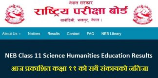 NEB Class 11 Science Humanities Education Results