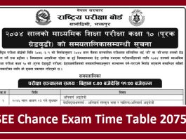 SEE Chance Exam Time Table 2075