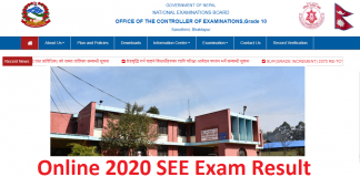 Online 2020 SEE Exam Result