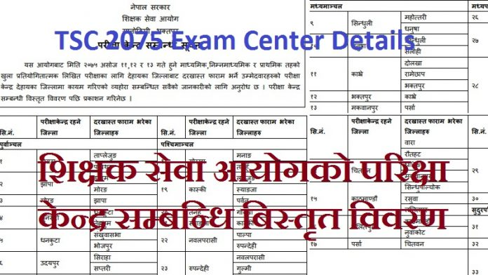 TSC 2075 Exam Center Details